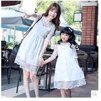 Wholesale Pure cotton mother daughter matching dresses Suitable any season princess dresses for kids Pure color Mother and daughter skirt dress