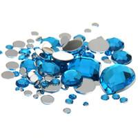 Wholesale Mixed Sizes Turquoise Blue Round strass Acrylic Loose Non Hotfix Flatback Rhinestones Nail Art Loose Stones For Wedding Decorations