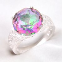 mystic topaz - 3Pcs Holiday Classic Square Fire Rainbow Mystic Topaz Crystal Gemstone Russia Sterling Silver Plated Weddiing Ring
