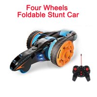 action stunts - Four Wheels Foldable Stunt Car RC Double sided Tumbling D Flip Deformation High Speed Climbing Racing Action with LED Headlight