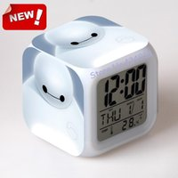 big digital led calendar clock - Big hero LED Colors Change Digital Alarm Clock Thermometer Night Colorful Glowing toy