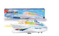 Wholesale Bump And Go Ocean Liner Cruise Ship Boat Kids Children Flashing Lights Sound Electric Toy