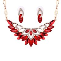 anniversary presents - Europe and America hot sales wedding accessories crystal Jewelry sets include necklace and earring women s present