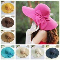 Wholesale New Fashion Summer Wide Brim Hat Women Floppy Straw Cap for Women Ladies Bow Bowknot Foldable Sun Hats Beach Cap with String