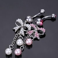 bell bow - New Fashion Body Piercing Jewelry Butterfly Bow Dangle L Steel Navel Belly Ring