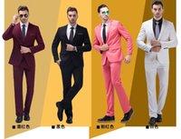 Wholesale 2016 New Custom made men s suits two pieces tux Notch Lapel Groom Tuxedos Slim Fit best man Suits Jacket pants