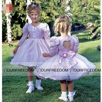 balloon wedding dresses - Vintage Princess Flower Girls Dresses V Neck Balloon Long Sleeve Pageant Open Back With Bow Lace Applique Party Dresses