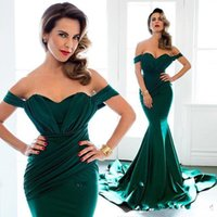 Wholesale Emerald Mermaid Evening Dresses Off the Shoulder Ruffles Chapel Train Arabic Long Dresses Bridesmaid Prom Gowns Custom Made