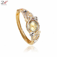 modern jewelry - 2016 Newest fashion hot sale beautiful gold plated alloy jewelry full crystal opal pave ladies watches