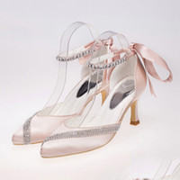 ballet shoe ribbon - 2016 blush wedding shoes with crystals comfortable silk bridal shoes lace up evening shoes party shoes prom shoes