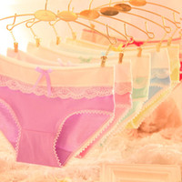 Wholesale 2016 Sexy Candy Color High Quality Lady Breathable Underpants Women s Cotton Panties Girls Sexy Lace Panties Girls Knickers