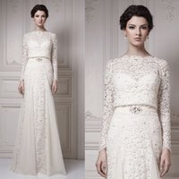 Wholesale Zuhair Murad Vintage Lace Winter Bodycon Sheath Arabic Bridal Wedding Dresses Gowns With Long Sleeves Floor Length W2201