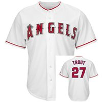 Wholesale 2016 New Mens Mike Trout Jerseys White Cool Base Sewn Jersey