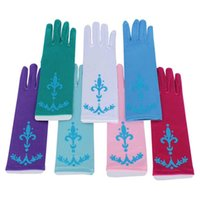 Wholesale Full Finger Gloves for Halloween Christmas Party Snow Queen Elsa Gloves Elsa Cosplay Costume Snow Queen Anime Gloves Coronation Colors