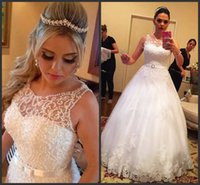beautiful wedding themes - Beautiful Sleeveless Tulle Princess Wedding Dresses Lace Appliqued Beaded Pearls Long Bridal Gowns Summer Theme Wedding Dresses Vestido