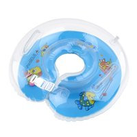 Wholesale 1Pcs Colorful Catoon Adjustable New Baby Aids Infant Swimming Neck Inflatable Tube Float Safety Ring