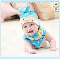baby animal hat patterns - 2 Set Baby Cotton Hat Cap and Bibs Triangular Bandage Lovely Animal Pattern Infant Toddler Boys Girls Beanies Accessories ZA0244