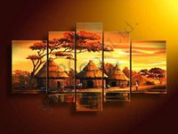 african people pictures - Modern African Tribes People Life Tree Oil Painting On Canvas Abstract Panel Arts Set Home Decor Wall Picture For Living Room