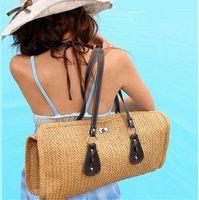 beach camel - 2016 Hot Sale Women s Canvas Bag High Quality Fashion Designers Handbags Beach Bags Straw Tote Shoulder Bag Women Straw Handbag