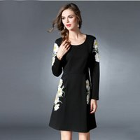 big black pencil - New Women Elegant Hallow Out Panelled Autumn Winter Dress Black Fashion Princess Party Slim Dress Plus Big Size XL XL