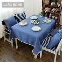 Wholesale Mediterranean stitching cotton tablecloth tablecloths tea table cloth table cloth modern minimalist stripe home textile