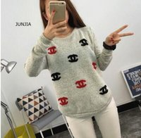 Wholesale Autumn and winter new women s embroidery round neck hedging loose knitted base sweater female students