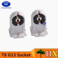 Wholesale 50pcs T8 G13 Fluorescent Light Socket Lamp AC100 V Hz Plastic Holder suitable for T8 G13 LED bracket lamp