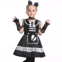 apparel trade - Hot Sale Foreign Trade Lovely Children Cosplay Apparel Imitation Silk Lace Cloth Girl Maid Dress Halloween Costumes