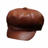 artist costumes - Women PU Leather Ascot Ivy Newsboy Berets Trucker Visor Peaked Cap Artist Hat BH