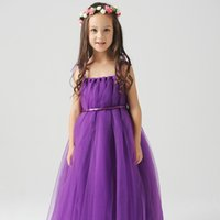 Cheap Stock Cute Kids Flower Girls Dresses For Weddings Straps Tulle Communion Dress With Satin Sash and Bow Tie Purple Light Blue Peach Color