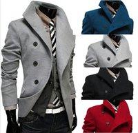 Wholesale Hot Sale New cotton Men trench coat Lapel double breasted design Men leisure trench coat