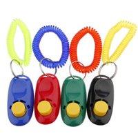 Training Clickers One Dog Small Breed Wholesale Dog Pet Cat Puppy Button Click Clicker Training Trainer Aid Wrist Strap Guide 200pcs lot