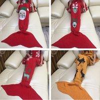 Wholesale Mermaid Tail Blanket Warm Knitted Handmade Crochet Mermaid Blanket Throw Bed Wrap Super Soft Sleeping Bed Christmas Gift