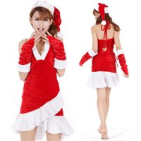 adult party hats - Hot Sale Sexy Santa Christmas Lingerie Dresses Adult Women Christmas Party Cosplay Costume Merry Xmas Clothes Hat Gloves