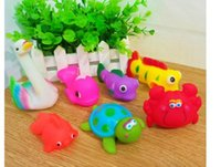 baby bath doll - New cute Color tortoise more Rubber Baby Bath Toys Water Sounds Animal Dolls Kids Swiming Water Fun Beach Gifts Sand Play