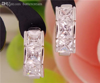 Wholesale pair Sterling Silver Square Cubic Zirconia CZ Women s party jewelry Classic Hoop Earrings TB539