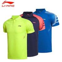 Wholesale Li Ning Summer Men Badminton Racing suit AT Dry Breathable Badminton Sport Polo Shirts AAYK095