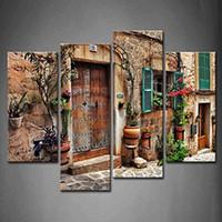 4 Панельные стены искусства улочкам старого средиземноморского городов цветок Окна дверей Картина Картина Печать на холсте Архитектура картинки Для дома