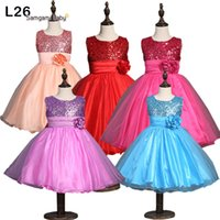 brand clothes cheap - Baby Girls Fashion Party Dresses New Cute Cheap Polyester Sequins Dresses With Flower Children Clothing Girl Fashion Dresses MC0001