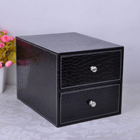 Wholesale double layer double drawer wood structure leather desk filing cabinet storage box office organizer document croco black