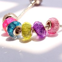 Wholesale New Candy Color Big Hole Charms Beads for pandora Loose Beads Bracelets DIY Charms Chain Bangle Jewelry