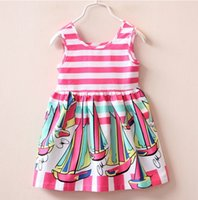 Wholesale Summer Sweet Cute Sailboat Print Dress Children Kids Girl Striped Dress Sleeveless Vest Princess Dress Boat Neck Casual Dress