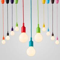 Wholesale YouOKLight Colorful Silicone Pendant Lights E27 Holder Modern Fashion DIY Design Creative Pendant Lamps cm Cord Ceiling Base