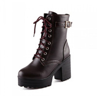 Discount pleat fabric - Fashion Women Belt Buckle Thick With High Martin Boots Ankle Boot Winter Square Heel Female Knight Short Boots Big Yards