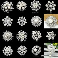 Wholesale Drop Shipping Rhinestone Crystal Wedding Bridal Bouquet Silver Flower Faux Pearl Brooch Pin Fashion Jewelry Brooch P