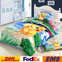 Wholesale 2016 Poke Cartoon Bedding Set Kids pokémon Pikachu Duvet Cover Set Bedsheet Pillowcase pc cotton Bed Linen Children XMAS Gifts WX B01
