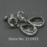 amethyst jewlery - Jewlery Sets Vintage Solid k White Gold Green Amethyst Diamond Earrings For Women Fine Amethyst Jewelry