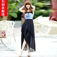 adult gigs - Summer Women Fashion Casual Dress Gig Cowboy Flowing Chiffon Dress Stitching Irregular Dress