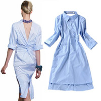 Wholesale HIGH QUALITY Runway Fashion New Women s Novelty Back V Open Asymmetrical Designer Stripe Blue Shirt Dress
