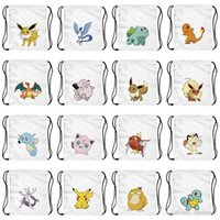 Wholesale 20 Design Hot Sale Pikachu Pattern Fullprint Poke Go Cartoon Simple Backpack Shoulders Bag Cute Drawstring Bags Travel Bags